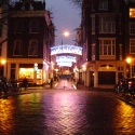 A Christmasy view of street in Jordaan