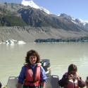 Me with view of Tasman Glacier in background
