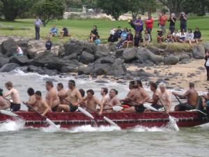 Paddling out of Waitangi
