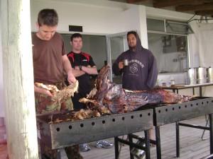 Huge lamb roast