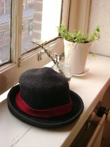 My black felt hat drying out, after it's dip in the canal.