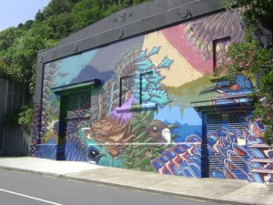 Mural on wall near Karori tunnel