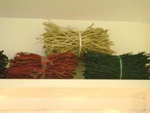 Dyed bundles of Heather stems