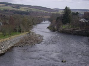 View over Tummel River from Pitlochry Dam Wall