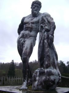 Statue of Hercules overlooking his garden, Blair Castle
