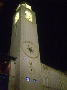 Clock tower in Old Town, Dubrovnik