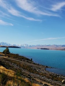 The turquoise coloured Lake Tekapo