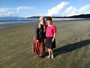 My friend Milli & I, Onetangi Beach