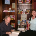 Alan Lee, signing a book, Weta Cave