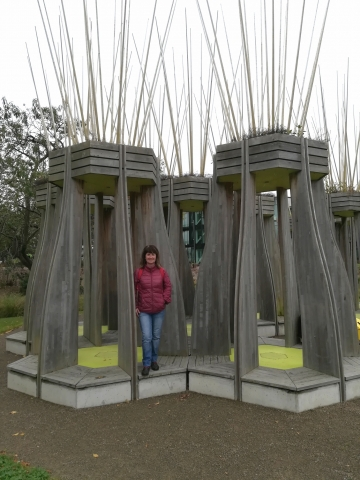 Me at Tree Houses for Swamp Dwellers Exhibit, Christchurch